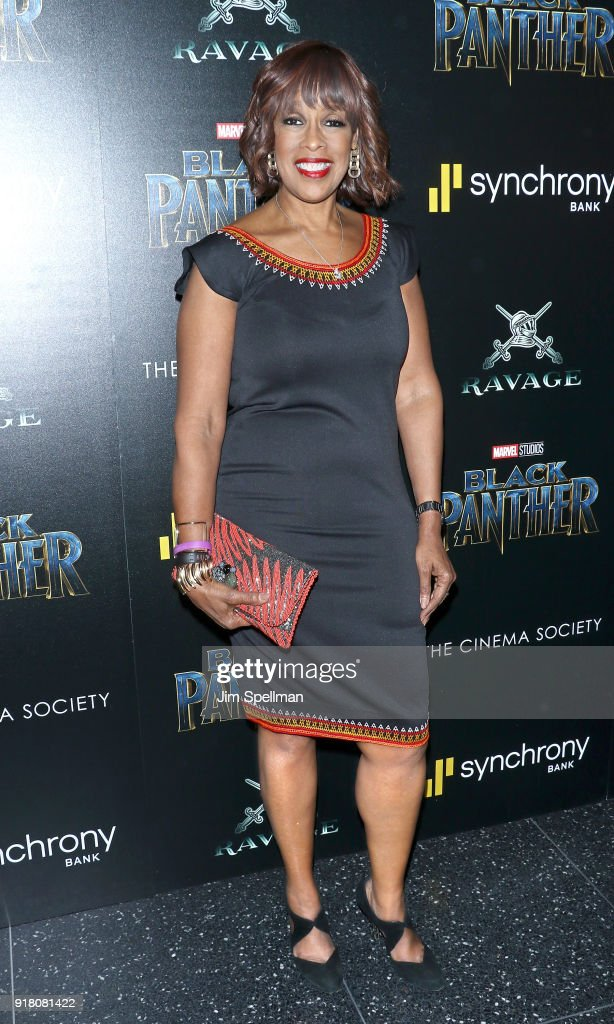 TV personality Gayle King attends the screening of Marvel Studios' 'Black Panther' hosted by The Cinema Society with Ravage Wines and Synchrony at Museum of Modern Art on February 13, 2018 in New York City.
