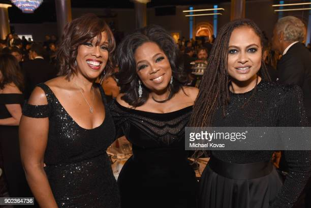 TV personality Gayle King Oprah Winfrey and director Ava DuVernay celebrate The 75th Annual Golden Globe Awards with Moet Chandon at The Beverly...
