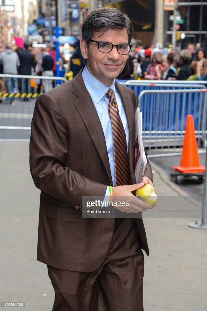 TV personality George Stephanopoulos leaves the 'Good Morning America' taping at the ABC Times Square Studios on May 17, 2013 in New York City.