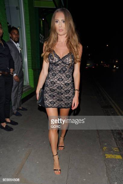 TV personality Georgie Clarke arriving at Embargo nightclub Chelsea on February 23 2018 in London England