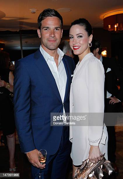 TV personality Gethin Jones and actress Jenna Dunlavy attend Charles Goode Los Angeles Exclusive Preview at Soho House on June 28 2012 in West...