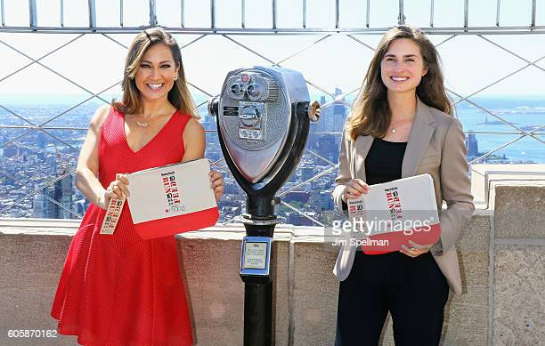TV personality Ginger Zee and Lauren Bush Lauren with Women's Health Magazine visit The Empire State Building to celebrate Run 10 Feed 10 on...
