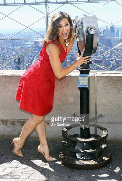 TV personality Ginger Zee with Women's Health Magazine visit The Empire State Building to celebrate Run 10 Feed 10 on September 15 2016 in New York...