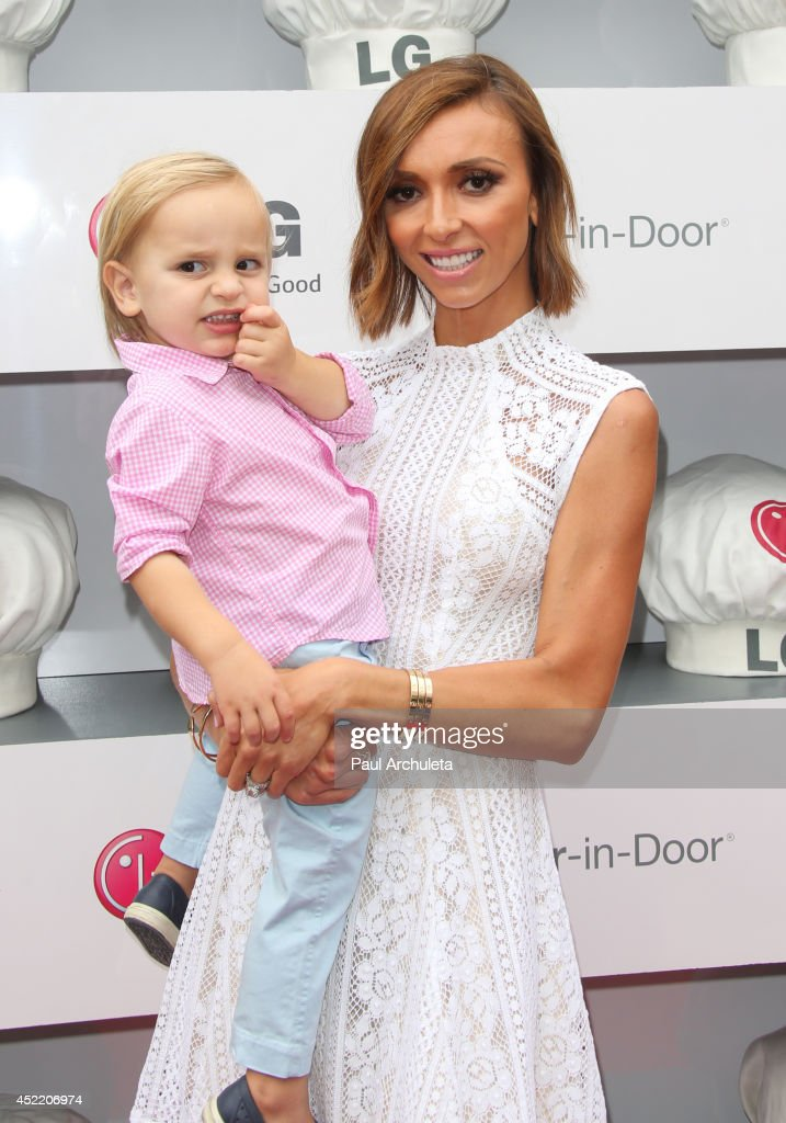 TV Personality Giuliana Rancic (L) and her Son Edward Duke Rancic (R) attend the Junior Chef Academy event at The Washbow on July 15, 2014 in Culver City, California.
