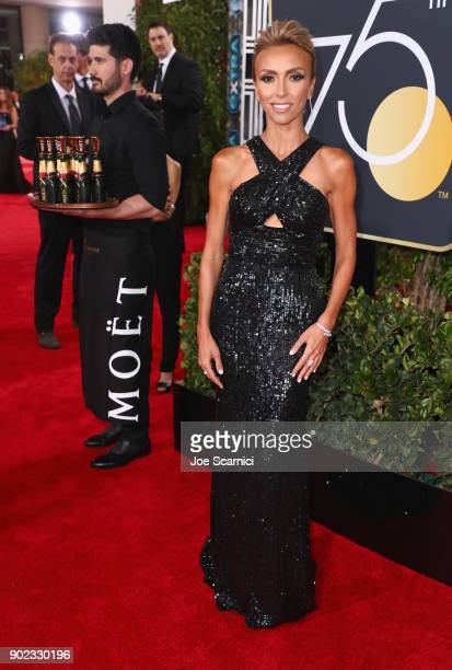 TV personality Giuliana Rancic celebrates The 75th Annual Golden Globe Awards with Moet Chandon at The Beverly Hilton Hotel on January 7 2018 in...