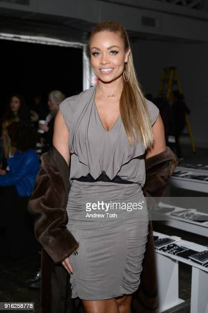 Personality Gizelle Bryant attends the Fashion Hong Kong front row during New York Fashion Week The Shows at Industria Studios on February 9 2018 in...