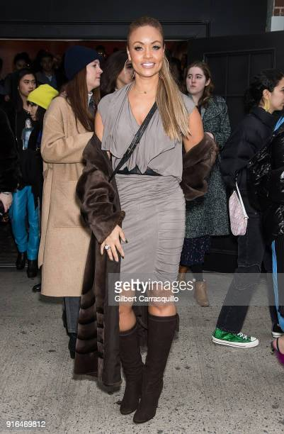 TV personality Gizelle Bryant is seen leaving Chromat fashion show during New York Fashion Week at Industria Studios on February 9 2018 in New York...
