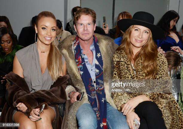 Personality Gizelle Bryant Philip Tabor and interior designer Genevieve Gorder attend the Fashion Hong Kong front row during New York Fashion Week...