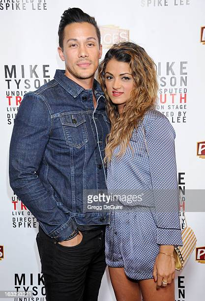 TV personality Golnesa GG Gharachedaghi and guest arrive at the Los Angeles opening night of Mike Tyson Undisputed Truth at the Pantages Theatre on...