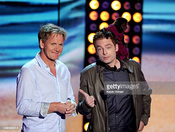 TV personality Gordon Ramsay and actor Justin Kirk with Crystal the monkey speak onstage during the 2012 Teen Choice Awards at Gibson Amphitheatre on...