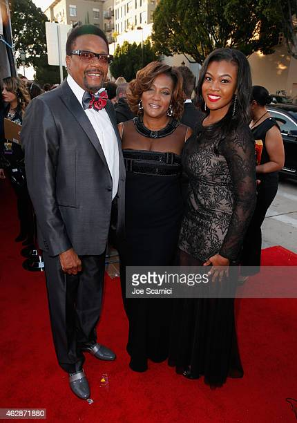 TV personality Greg Mathis Linda Reese and Camara Mathis attend the 46th NAACP Image Awards presented by TV One at Pasadena Civic Auditorium on...