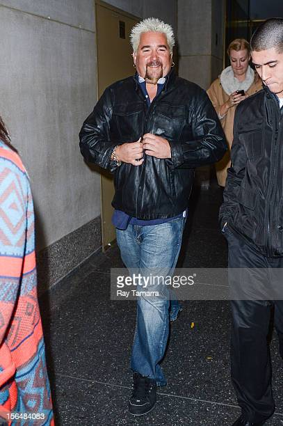 TV personality Guy Fieri leaves the 'Today Show' taping at the NBC Rockefeller Center Studios on November 15 2012 in New York City