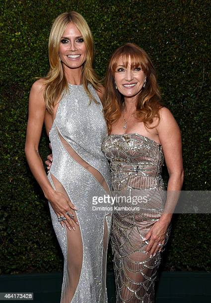 TV personality Heidi Klum and actress Jane Seymour attend the 23rd Annual Elton John AIDS Foundation Academy Awards Viewing Party on February 22 2015...
