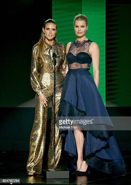 TV personality Heidi Klum and actress Rebecca Romijn speak onstage during the 2016 American Music Awards held at Microsoft Theater on November 20...