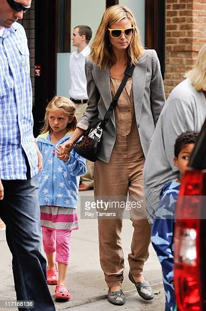 TV personality Heidi Klum and Leni Samuel leave a Tribeca hotel on June 23 2011 in New York City