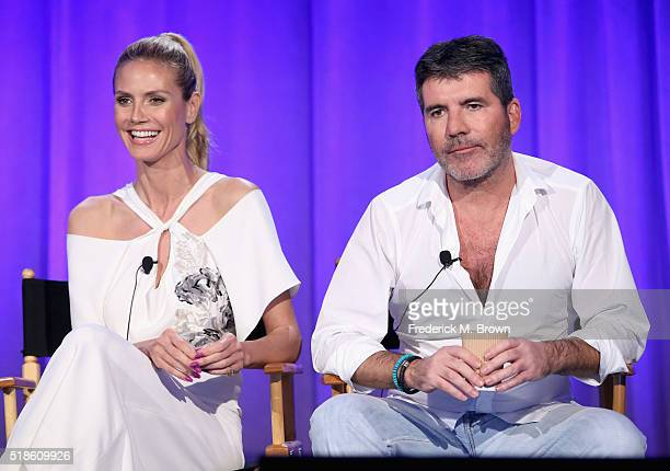 TV personality Heidi Klum and producer/TV personality Simon Cowell speak onstage during the 'America's Got Talent' panel at the 2016 NBCUniversal...