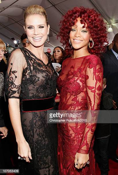 Personality Heidi Klum and singer Rihanna arrive at the 2010 American Music Awards held at Nokia Theatre L.A. Live on November 21, 2010 in Los...