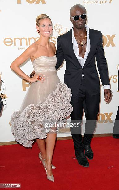 TV personality Heidi Klum and singer Seal arrive at the 63rd Primetime Emmy Awards at Nokia Theatre LA Live on September 18 2011 in Los Angeles...