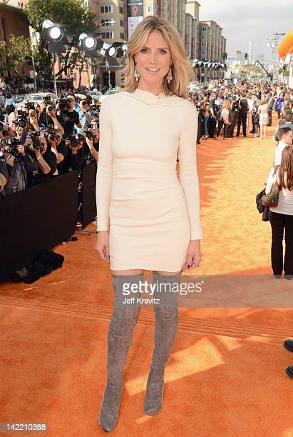 TV personality Heidi Klum arrives at the 2012 Nickelodeon's Kids' Choice Awards at Galen Center on March 31 2012 in Los Angeles California