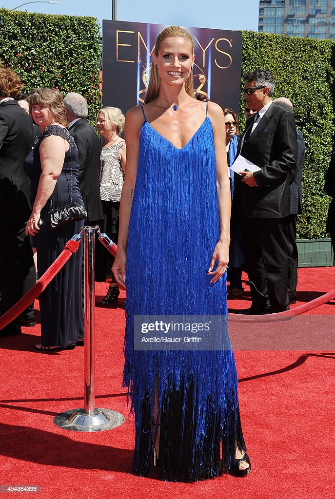 TV personality Heidi Klum arrives at the 2014 Creative Arts Emmy Awards at Nokia Theatre L.A. Live on August 16, 2014 in Los Angeles, California.