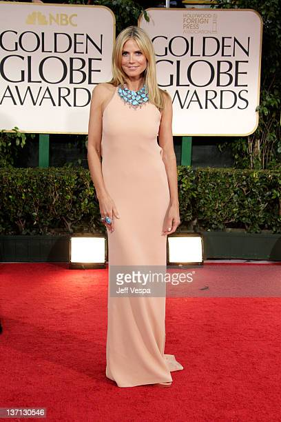 TV personality Heidi Klum arrives at the 69th Annual Golden Globe Awards held at the Beverly Hilton Hotel on January 15 2012 in Beverly Hills...