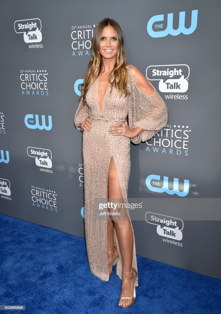 TV personality Heidi Klum attends The 23rd Annual Critics' Choice Awards at Barker Hangar on January 11, 2018 in Santa Monica, California.