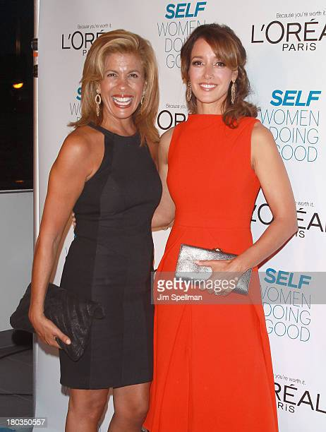 Personality Hoda Kotb and actress Jennifer Beals attend the 2013 Self Magazine 'Woman Doing Good' Awards at Apella on September 11 2013 in New York...