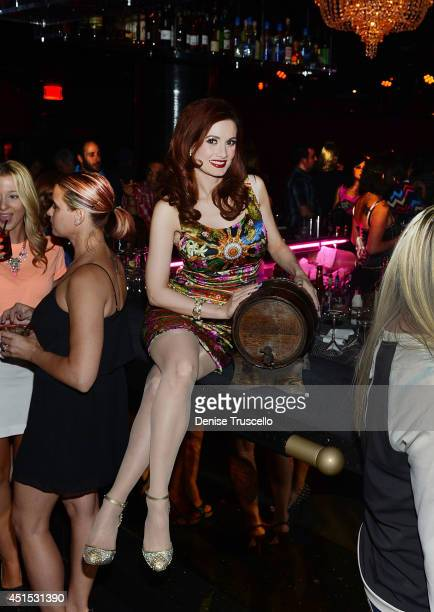 Personality Holly Madison poses for a photo at 1923 Bourbon Burlesque By Holly Madison At Mandalay Bay on June 30 2014 in Las Vegas Nevada
