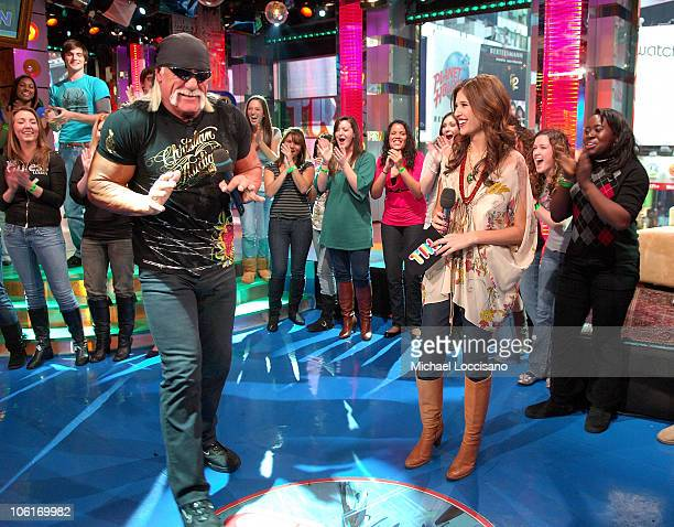 TV personality Hulk Hogan and MTV VJ Lyndsey Rodrigues during MTV's TRL at MTV Studios in Times Square on January 7 2008 in New York City
