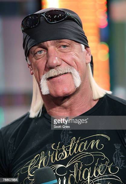 TV personality Hulk Hogan appears onstage during MTV's Total Request Live at the MTV Times Square Studios January 7 2008 in New York City