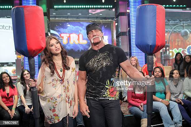TV personality Hulk Hogan appears onstage with host Lyndsey Rodrigues during MTV's Total Request Live at the MTV Times Square Studios January 7 2008...