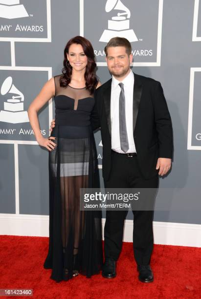 TV personality Jack Osbourne and Lisa Stelly arrive at the 55th Annual GRAMMY Awards at Staples Center on February 10 2013 in Los Angeles California