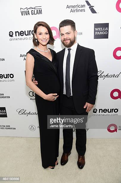 TV personality Jack Osbourne and Lisa Stelly attend the 23rd Annual Elton John AIDS Foundation Academy Awards Viewing Party on February 22 2015 in...
