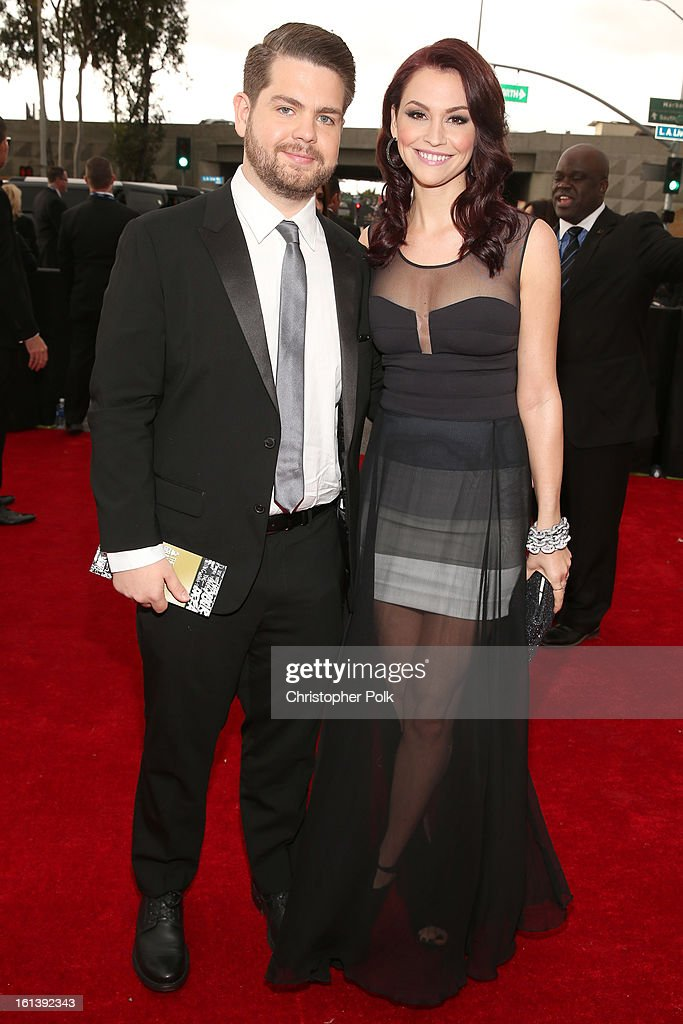 TV personality Jack Osbourne (L) and Lisa Stelly attends the 55th Annual GRAMMY Awards at STAPLES Center on February 10, 2013 in Los Angeles, California.