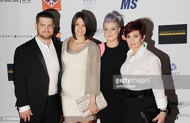TV personality Jack Osbourne wife Lisa Osbourne sister TV personality Kelly Osbourne and mother TV personality Sharon Osbourne arrive at the 22nd...
