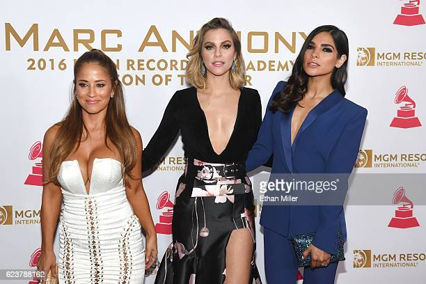 Personality Jackie Guerrido, recording artist Rachel Platten and model Alejandra Espinoza attend the 2016 Person of the Year honoring Marc Anthony at...