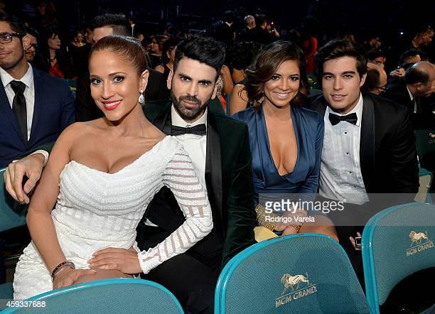 TV personality Jackie Guerrido stylist Jomari Goyso Journalist Pamela Silva and Danilo Carrera attend the 15th annual Latin GRAMMY Awards at the MGM...