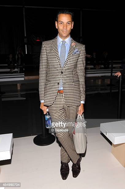 Personality James Aguiar attends the Reem Acra fashion show during MercedesBenz Fashion Week Spring 2015 at The Salon at Lincoln Center on September...