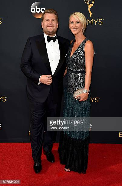 TV personality James Corden and Julia Carey arrive at the 68th Annual Primetime Emmy Awards at Microsoft Theater on September 18 2016 in Los Angeles...
