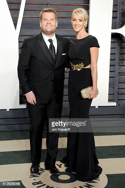 Personality James Corden and producer Julia Carey attend the 2016 Vanity Fair Oscar Party hosted By Graydon Carter at Wallis Annenberg Center for the...