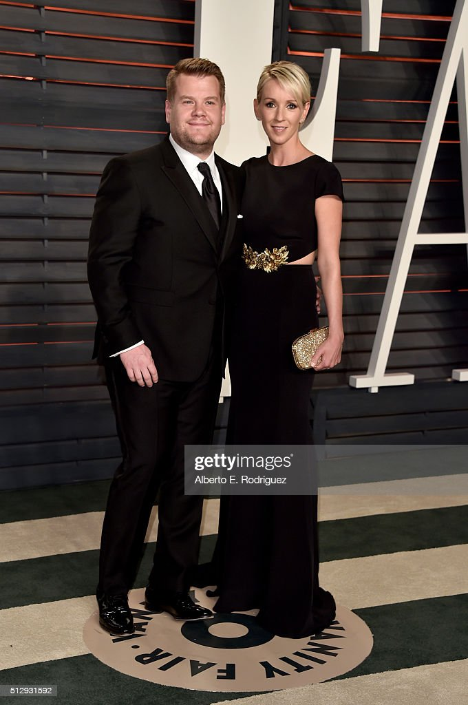 TV personality James Corden (L) and producer Julia Carey attend the 2016 Vanity Fair Oscar Party hosted By Graydon Carter at Wallis Annenberg Center for the Performing Arts on February 28, 2016 in Beverly Hills, California.