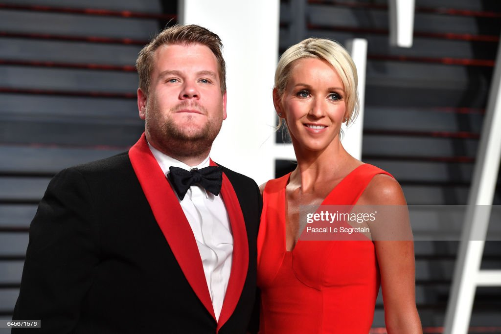 TV personality James Corden (L) and producer Julia Carey attend the 2017 Vanity Fair Oscar Party hosted by Graydon Carter at Wallis Annenberg Center for the Performing Arts on February 26, 2017 in Beverly Hills, California.