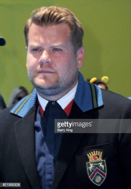 TV personality James Corden attends the premiere of Columbia Pictures and Sony Pictures Animations' The Emoji Movie' at Regency Village Theatre on...