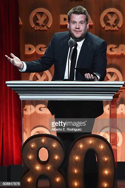 TV personality James Corden speaks onstage at the 68th Annual Directors Guild Of America Awards at the Hyatt Regency Century Plaza on February 6 2016...