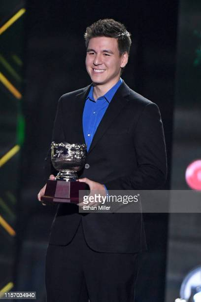 TV personality James Holzhauer presents during the 2019 NHL Awards at the Mandalay Bay Events Center on June 19 2019 in Las Vegas Nevada
