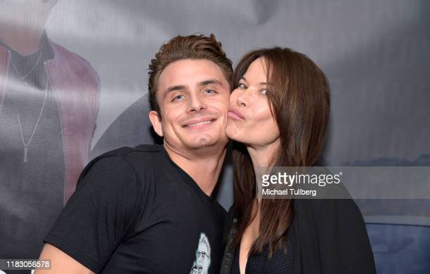 TV personality James Kennedy and actress Jacqueline Giorgio attend the Los Angeles launch party for JamesKennedyshop at SUR Lounge on October 23 2019...