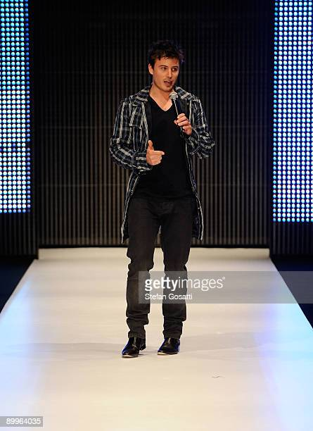 TV personality James Tobin introduces the Summer Holiday By V Australia catwalk show at Rosemount Sydney Fashion Festival 2009 at Martin Place...