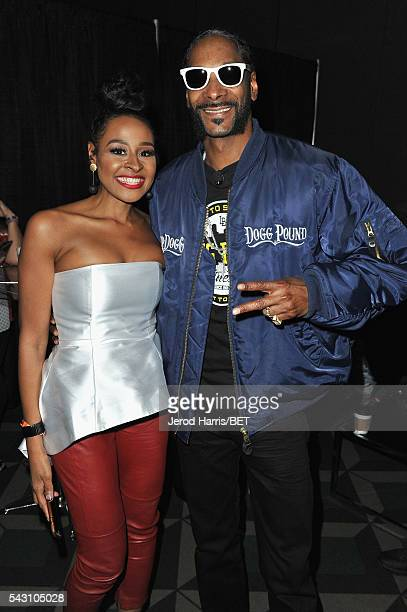 TV personality Janell Snowden and recording artist Snoop Dogg pose during the Genius Talks sponsored by ATT during the 2016 BET Experience on June 25...