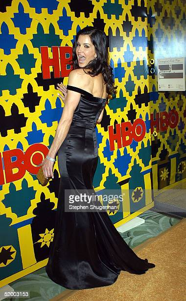 TV personality Janice Dickinson arrives at the HBO Golden Globe After Party at the Beverly Hilton Hotel on January 16 2005 in Beverly Hills California
