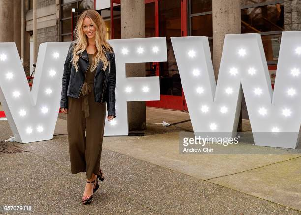 TV personality Jasmine Lorimer attends Day 4 of Vancouver Fashion Week Fall/Winter 2017 at Chinese Cultural Centre of Greater Vancouver on March 23...